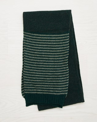 Men's Lambswool Stripe Scarf - Olive - One Size - 2532