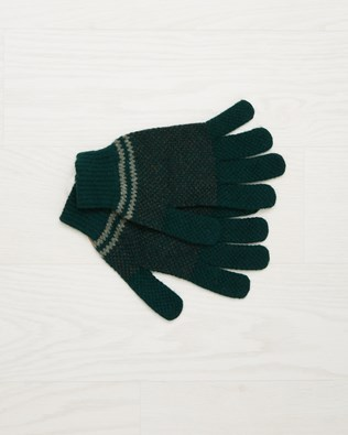 Men's Lambswool Stripe Gloves - Olive - One Size - 2534
