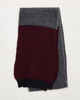 Men's Lambswool Stripe Scarf - Claret - One Size - 2535