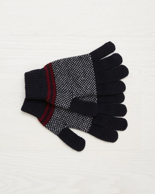 Men's Lambswool Stripe Gloves - Claret - One Size - 2537