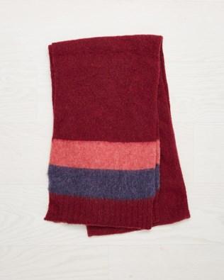 Shetland Wool Scarf - Claret - One Size - 2539