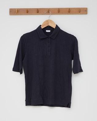 Linen Cotton Polo Top - Navy - Size 10 - 2548