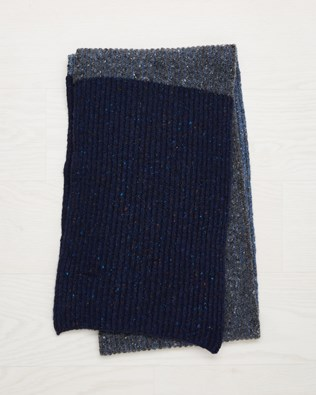 Ribbed Fleck Scarf - Charcoal, Navy Colourblock - One Size - 2545