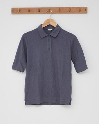 Linen Cotton Polo Top -  Smoke - Size 10 - 2551
