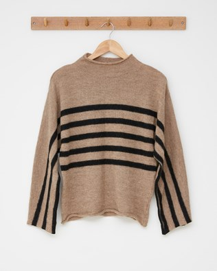 Alpaca Luxe Lounge Jumper - Charcoal Stripe - Size Small - 2552