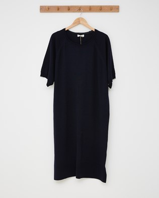 Merino Short Sleeve Midi Dress - Navy - Size Large - 2557