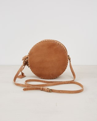 Leather Round Cross Body Bag - Camel - One Size - 2563