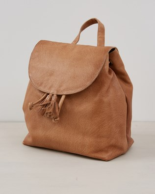 Leather Flap Closure Back Pack -  Camel - One Size - 2564