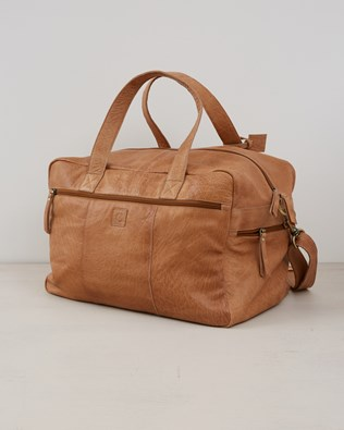 Leather Overnight  Holdall Bag - Camel - One Size - 2565