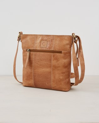Leather Zip Up Crossbody Bag - Camel - One size - 2569