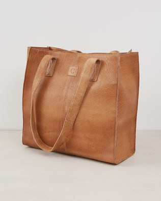 Leather Shopper Tote Bag - Camel - One Size - 2570