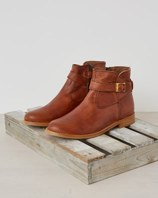 Veg Tan Leather Zip Up Ankle Boot - Autumn Brown - Size 37 - 2584