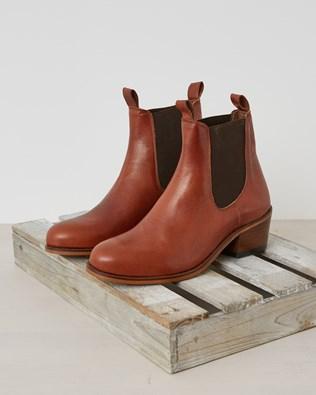Veg Tan Leather Chelsea Boot - Rust Size 37 - 2587