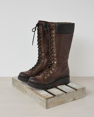 Leather Knee Boot - Choc Brown - Size 37 - 2588
