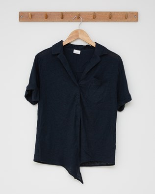 Linen cotton tie front top - Size 8 - Navy - 2599