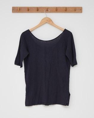 Linen cotton scoop neck button back top - Size 10 -  Navy - 2600