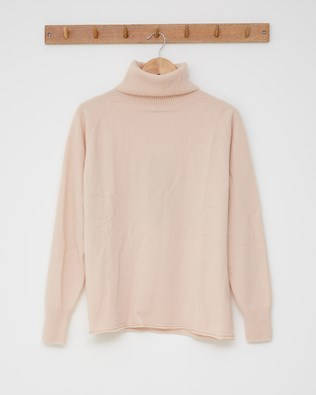 Geelong slouch roll neck - Size Small - Peony - 2603