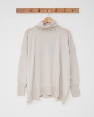 Slouchy fine knit roll neck - Size Medium - Oatmeal - 2605