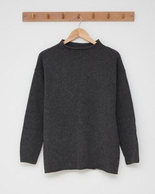 Felted funnel neck jumper - Size Medium - Charcoal - 2606