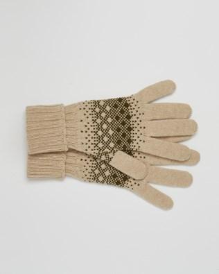 Cashmere Fairisle Gloves - One Size - Olive, Camel - 2450