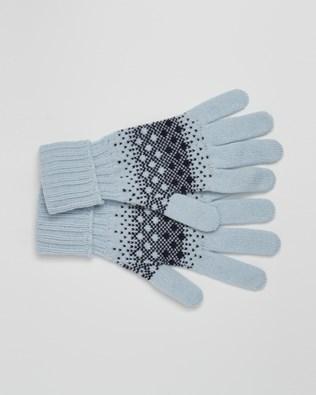 Cashmere Fairisle Gloves - One Size - Navy, Light Blue - 2453