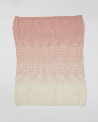 Cashmere Fairisle Snood - One Size - Pink, Winter White - 2454