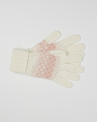 Cashmere Fairisle Gloves - One Size - Pink, Winter White - 2456