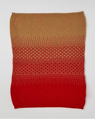 Cashmere Fairisle Snood - One Size - Dark Camel, Pillarbox Red - 2457