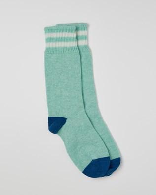 Ladies Cashmere Cotton Socks - Size Medium - Seafoam, Cobalt - 2462