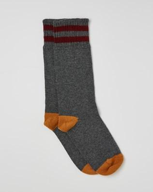 Ladies Cashmere Cotton Socks - Size Medium - Derby Grey, Autumn Brown - 2463