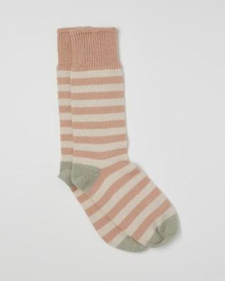 Ladies Cashmere Cotton Allover Stripe Socks - Size Medium - Peony, Sage - 2467