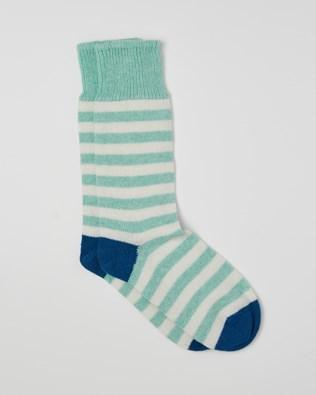 Ladies Cashmere Cotton Allover Stripe Socks - Size Medium - Seafoam, Cobalt - 2468