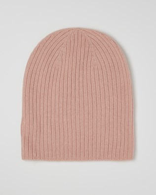 Cashmere Ribbed Beanie - Pink - One Size - 2612