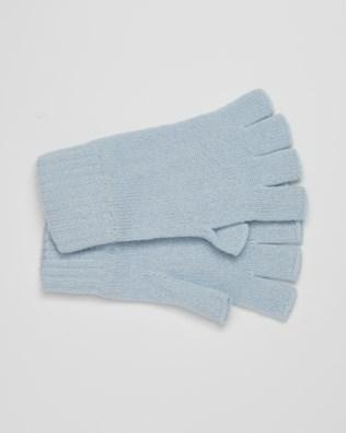 Cashmere Fingerless Gloves - Light Blue - One Size - 2622