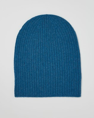 Cashmere Ribbed Beanie - Cobalt Blue - One Size - 2625