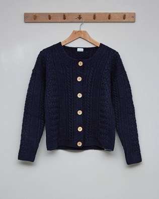 Cable Cardigan - Size Small - Navy - 2633