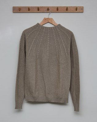 Cable Yoke Funnel Neck Jumper - Size Extra Small - Mushroom - 2641