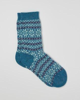 LADIES CASHMERE FAIRISLE SOCKS - BLUE, LIGHT BLUE - ONE SIZE - 2521