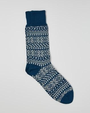 MEN'S MERINO COTTON FAIRISLE SOCKS - NAVY BLUE - M - 2528