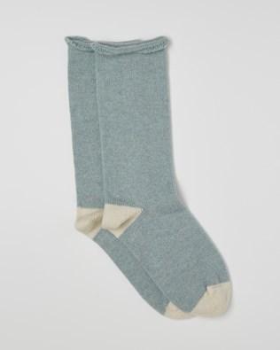 Ladies Pure Cashmere Lounge Socks - Vintage Blue - Size Medium - 2529