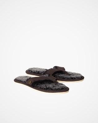 Shearling Flip Flops - Mocca - Size 5 - 2471
