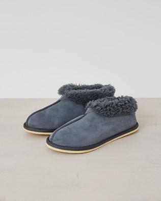 Ladies Sheepskin Bootee Slipper - Dark Grey - Size 8  - 2478