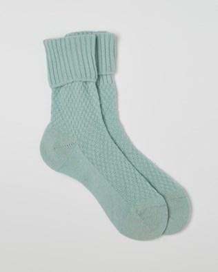 Ladies Cashmere Mix Socks - Seafoam - Size Medium - 2508