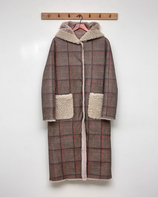 REVERSIBLE CHECK PRINTED HOODED COAT - OATMEAL, CHECK - SIZE 10 - 2563