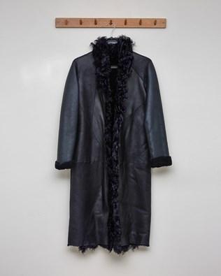 Reversible Curly Trim Coat - Dark Navy - Size Small - 2576