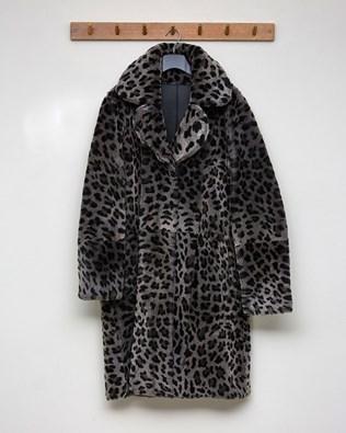 Reversible Printed Sheepskin Coat - Black, Snow Leopard - Size 10 - 2579