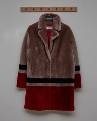 Hem Colourblock Sheepskin Coat - Vole / Red & Black Colourblock- Size 10 - 2788