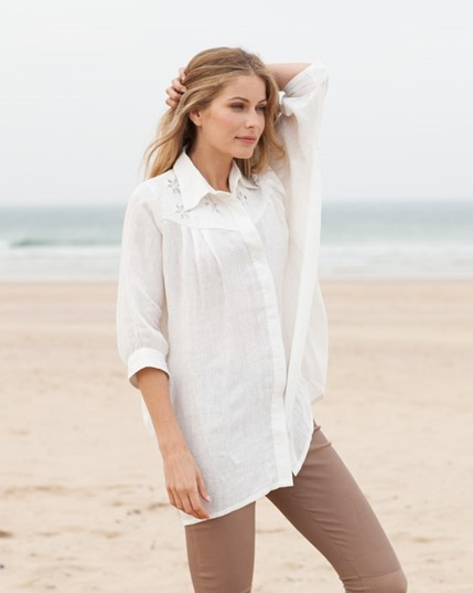 Hand-embroidered Linen Blouse
