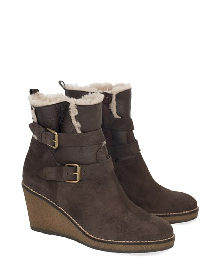 Wedge Buckle Boots