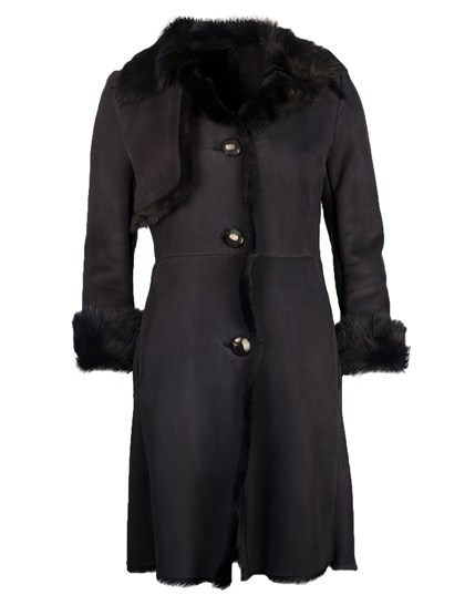 Full length tie front raw edged shearling coat - 8